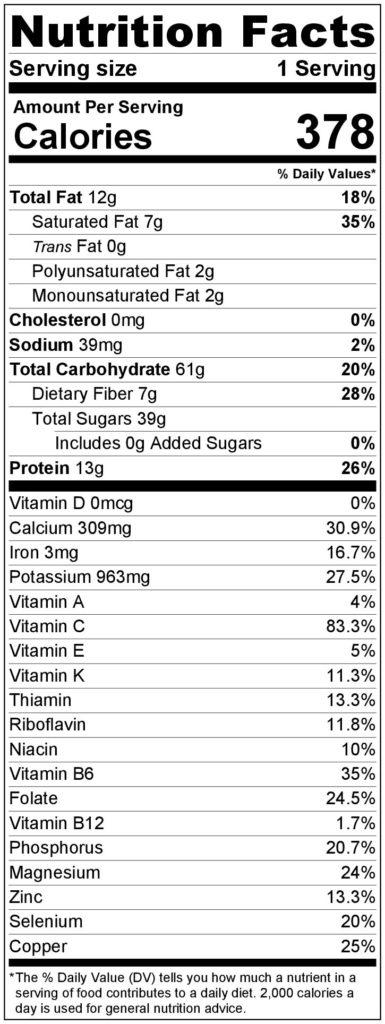 Mango Cream Pie Nutrition Facts