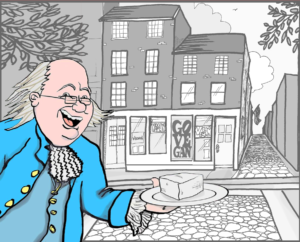Ben Franklin offers tofu in front of the American Vegan Center